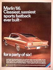 American Motors Marlin PRINT AD - 1966