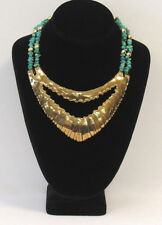 VINTAGE 1960s  MOD TURQUOISE & BRASS BRUTALIST NECKLACE STERLING SILVER CLASP