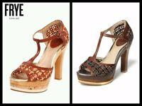 $278 FRYE Tan Brown Black Multi Woven T-Strap Platform Shoes Heels~ 8.5,9M M3020