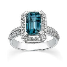 Emerald Cut 4.02 Ct Brilliant Real Diamond Blue Topaz Platinum Ring Size L M N P