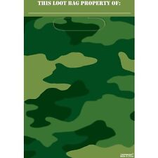 Camouflage Military Army Greens Party Supplies Camouflage Party Loot Bags 8pk