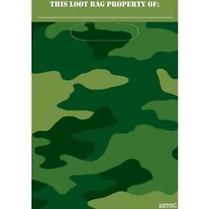 Camouflage Party Loot Bags 8pk - Camouflage Party Supplies