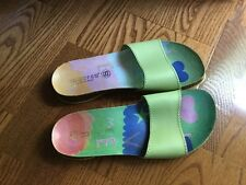 Tabarca Spain Celery Green Leather Single Band Slide Sandals (Size 7.5 M)