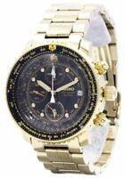 Seiko watch QUTARZ quartz chronograph SNA414P1 pilot black / gold men's