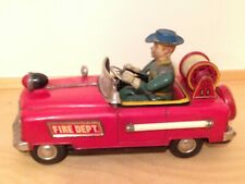 Rare Vintage FIRE TRUCK CHIEF TIN TOY Battery Operated