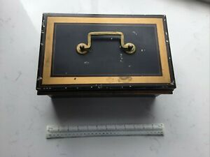Large Vintage Tin Cash Money Bankers Box with Brass Handle & Inner Tray No Key