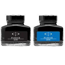Parker Quink Fountain Pen Ink Bottle, 30ml, Blue & Black Ink, Set of 2
