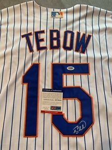 NEW YORK METS- TIM TEBOW AUTOGRAPH PINSTRIPE MAJESTIC JERSEY PSA/DNA AE72014