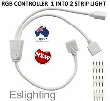 CONTROL TWO 5050 3528 RGB LED STRIPS WITH ONE REMOTE 1 TO 2 SPLITTER CABLE 4 PIN