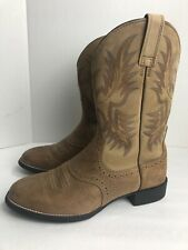 """Ariat 10002247 Heritage Stockman 11"""" Tan Pull On Rubber Sole Boots 9.5 D leather"""