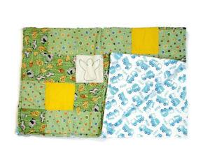 Handmade Baby Quilt Blanket Reversible Unique Multicolor Safari Animals & Trucks