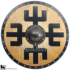 Solid Oak Viking Protection Symbol Shield -- sca/larp/norse/warrior/armor/Norway