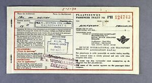 KLM ROYAL DUTCH AIRLINES USED VINTAGE AIRLINE TICKET 1949 AMSTERDAM - MANCHESTER