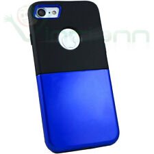 Pellicola+Custodia cover INTER case doppio strato NEROAZZURRO per iPhone 7 4.7""