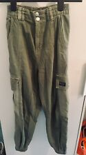 Bershka Cargo Utility Khaki Pants, Womens,Small/uk8/10, Side Pockets, Parachute
