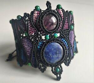 Handmade Natural Lapis Lazuli, Amethyst, Chrysocolla Macrame bracelet adjustable