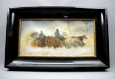 Pferde Panje Wagengespann im Winter, Aquarell Pastell Papier, 19. Jh. 26 x 55 cm