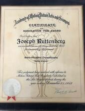 "Joseph Ruttenberg ""ACADEMY AWARDS NOMINATION CERTIFICATE"" 1952 ""Julius Caesar"""