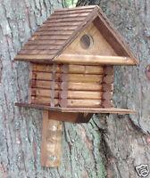 Log Cabin Style house Bird wood wooden shingle roof Birdhouse rustic-yard-Tree