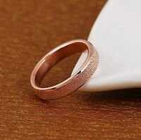 """6mm MEN'S Stainless Steel """"FROSTED ROSE GOLD"""" Band Ring - FREE Gift Pouch"""