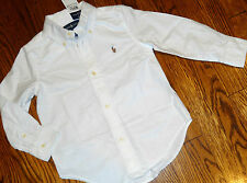 POLO RALPH LAUREN TODDLERS/KIDS BOYS BRAND NEW WHITE DRESS SHIRT TOP Sz 4T, NWT