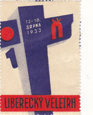 Poster Stamp Label LIBERECKY VELETRH 1933 Railroad signal Transportation