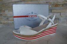 Prada Sandalias con Plataforma 40 Talla Cuñas Zapatillas Blancas Rojo Nuevo