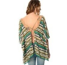 RCVA Richness M/L Green Brown Aztec Geometric Open Back Cover-up Top BOHO