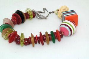 "Artisan Lucite Bakelite Glass Disc Bead 8"" Bracelet Sterling Clasp Fun Colorful"