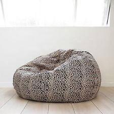 FUR BEANBAG LARGE Leopard Print Cloud Chair Soft Velvet Safari Bean Bag TV  Seat