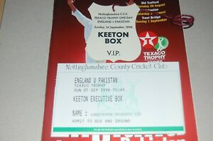 ENGLAND v PAKISTAN 1996 OFFICIAL PROGRAMME with GAME TICKET and VIP PASS