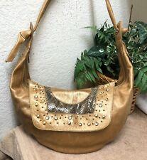 Treesje Handbag Bag Leather Shoulder Hobo Studs Rhinestones Metallic Gold GPC