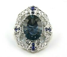 Oval London Blue Topaz & Diamond Halo Solitaire Ring 14k White Gold 6.58Ct
