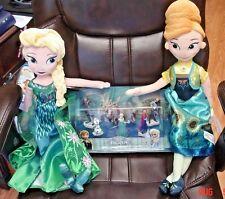 Disney Store Authentic Frozen Lot: Anna & Elsa Plush Dolls + 6p Figure Set ~ NWT