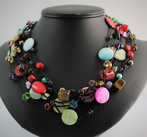 Signed Premier Designs Colorful Pink Black Green Mother of Pearl Coin Necklace