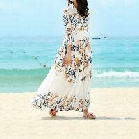 UKWomen Chiffon Floral Long Three Quarter Sleeve Maxi Dress Top Kaftan Size 8-12
