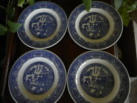 Lot of 4 USA Blue Willow Ware Royal China Ironstone Dinner Plate Dishwasher Safe