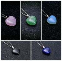 Natural Gemstone Pink Heart Crystal Chakra Healing Stone Pendant Chain Necklace