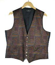 Paco Rabanne Vintage Purple Navy Silk Waistcoat Vest Size 42L Reg