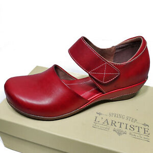 L'Artiste Red Leather Mary Jane Comfortable Shoes Gloss Sz 36 37 38 39 40 41 42