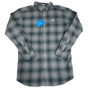 Columbia Plaid Flannel Shirt Long Sleeve Button Front Pocket Gray Green Men XLT