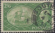 """Great Britain Stamp - Scott #286/A121 2sh6p Green """"George VI"""" Canc/LH 1951"""