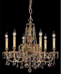 Novella Olde Brass Golden Teak 6 Light Chndelier