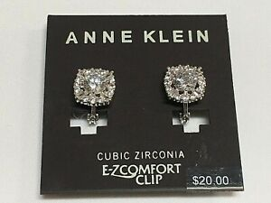 """Anne Klein Clear Crystal EZ-Comfort Clip Silver Plated Earrings 1/2"""" New AN26"""