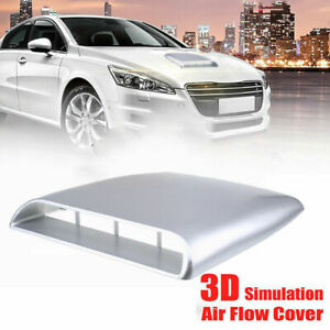 1x Silver Universal Car Bonnet Hood Scoop Air Flow Intake Vent Decorative Cover