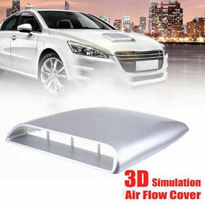 1x Silver Universal Car Bonnet Hood Scoop Air Flow Intake Vent Decorative Cover