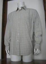 XL Men Lyle & Scott Long Sleeve Button Shirt Beige White Blue Plaid Cotton EUC