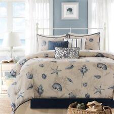 Ivory Blue Ocean Themed King Comforter Set Beach Pattern Bedding Sea Shells