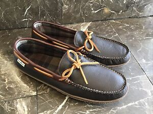 NEW LL Bean Handsewn 212164 Mens Leather Flannel Moccasin Slippers Brown Sz 11