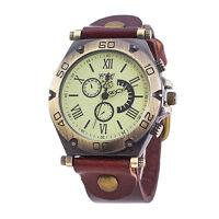 CCQ Retro Herren Damen Leder Casual Uhr Edelstahl Analog Quarz Luxus Sport Uhren